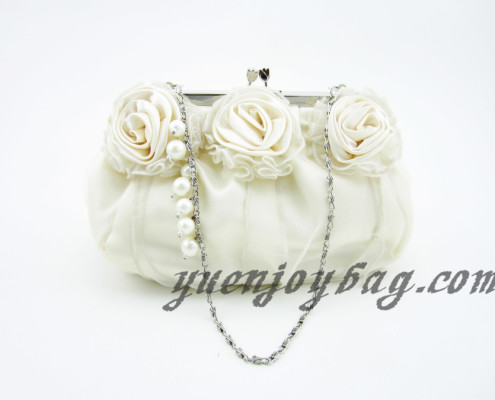 Women's Floral Decorated Satin and Organza Wedding Clutch Bridal Bag with Bead Chain