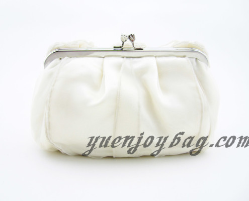 Women's Floral Decorated Soft Satin and Organza Evening Clutch Bag with Bead Chain - back view