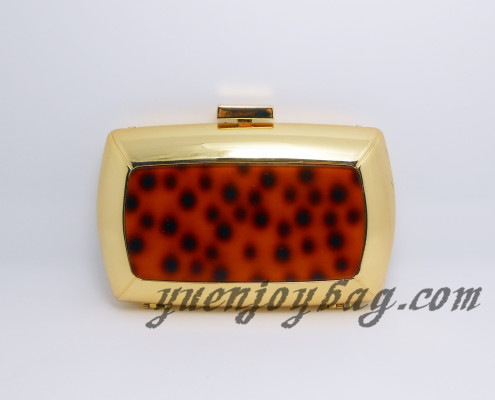 Ladies luxury golden metal clutch bag with tortoise shell pattern