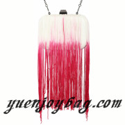 Women's Gradient Color Tassels Decorated Pu Leather Evening Bag