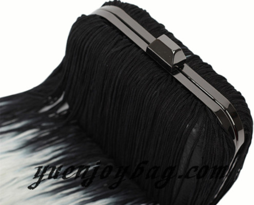 Women's Gradient Color Tassels Decorated Pu Leather Evening Bag - top view