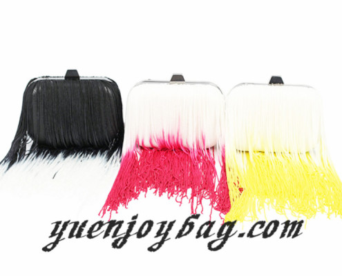 Women's Gradient Color Tassels Decorated Pu Leather Evening clutch Bag with metal frame