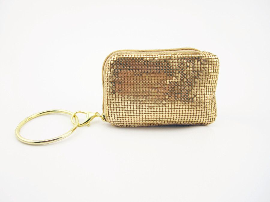 Metal Sequin Small Wristlet Zipper Coin Purse For Iphone